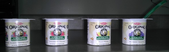 Containers of yogurt
