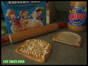 Peanut butter and roll-ups with Rice Krispies